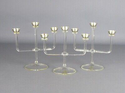 3 Small Candlesticks Decorative Glass Blown & Silver 925