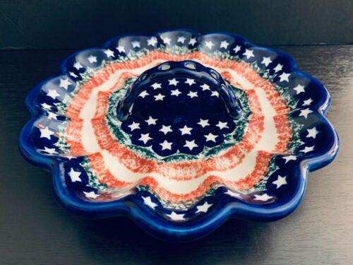 "Boleslawiec Polish Art Pottery 9"" Deviled Egg Dish Platter. Hand Made. Poland"