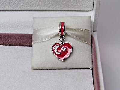 New w/Box & Tags Pandora Turkey Flag Heart Enamel Dangle Charm 791552ENMX (Heart Flag Enamel Charm)