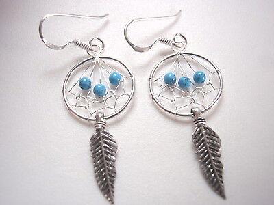 Small Blue Turquoise Dream Catcher Dangle Earrings 925 Sterling - Small Turquoise Dreamcatcher Earrings