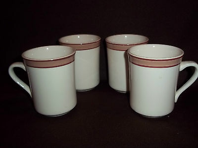 Set of Four Vtg. Syracuse China CupsMugs, Syralite, Tan/Brown Bands