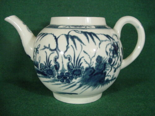 Worcester antique 18thc orphan teapot 1770 CANDLE FENCE PATTERN Chinoiserie blue