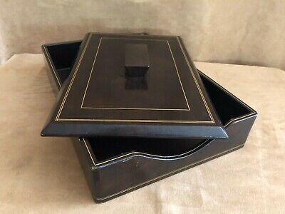 Desktop Letter File Holder Storage Tray Paper Folder Leather Weight Lid Top