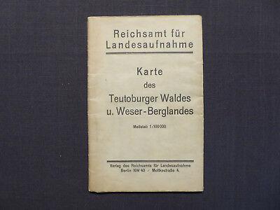 Landkarte Karte des Teuteburger Waldes und Weser - Bergland, 1921