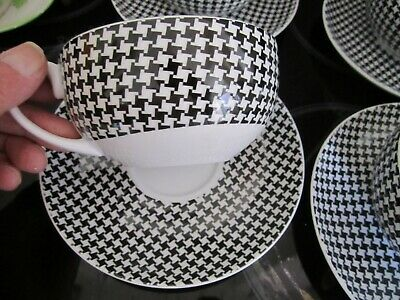 LARGE BREAKFAST CUP AND SAUCER,BLACK & WHITE DOG TOOTH,BRAND NEW White Breakfast Cup