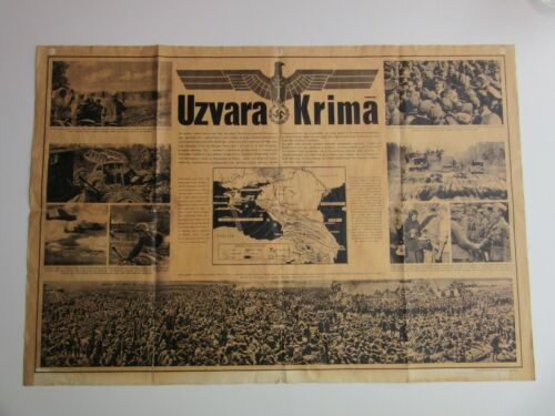 PRICE OFFER!! WWII German Waffenn SS / Wehrmacht LATVIA Poster VICTORY in CRIMEA
