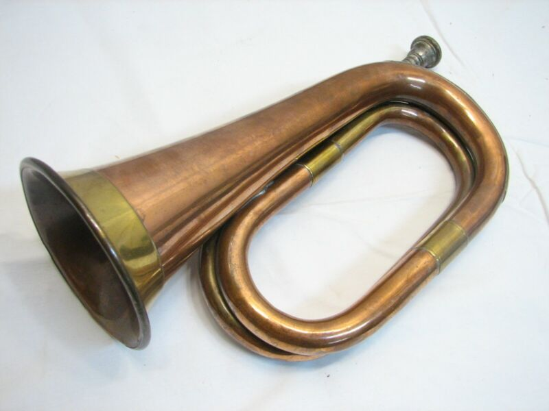 Early Copper Brass Military Signal Bugle Fox Hunting Civil War Prop Reenactment