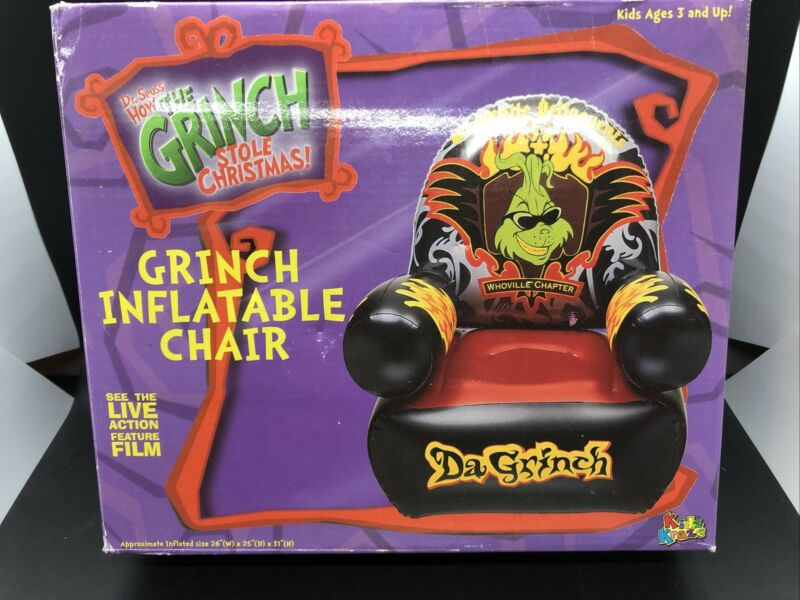 Kids HOW The Grinch Stole Christmas Inflatable Chair NEW SEALED WHOVILLE RARE!!