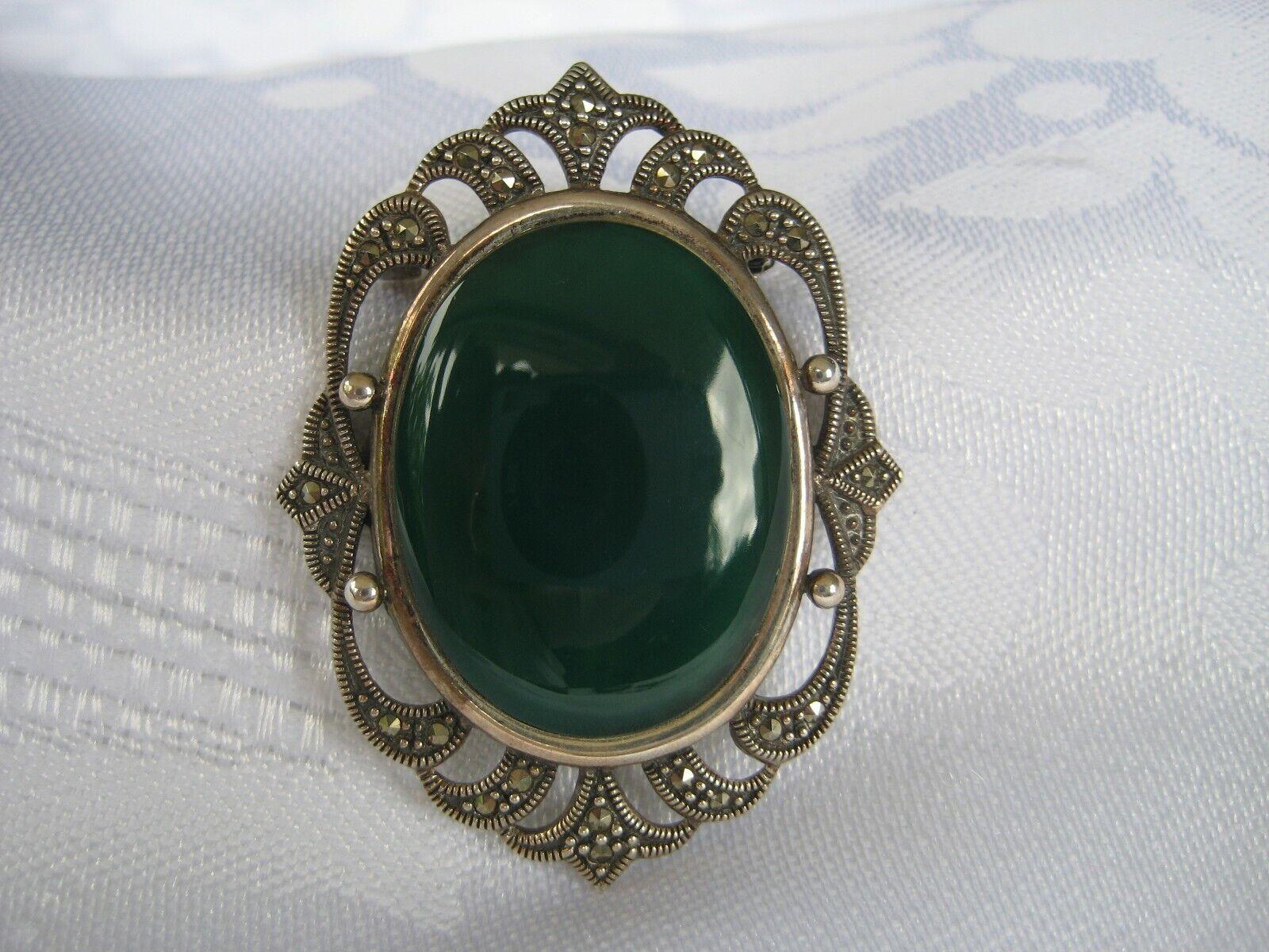 Großer Art Deco Anhänger Brosche 925 Silber Achat grün Markasiten Unikat