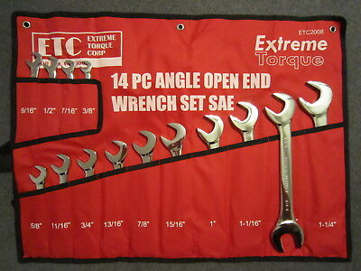 """SAE Open End 4-Way Angle Wrench Set 3/8"""" to 1-1/4"""" 14 Extreme Torque ETC 2008"""
