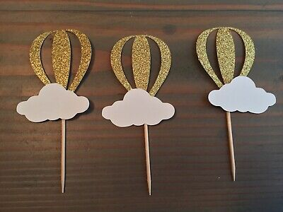 12 Hot Air Balloon Cupcake Toppers, Baby Shower, Up And Away (Air Balloon Baby Shower)
