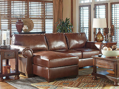 HELENA Traditional Sectional Living Room Couch Set Furniture Brown Leather Sofa