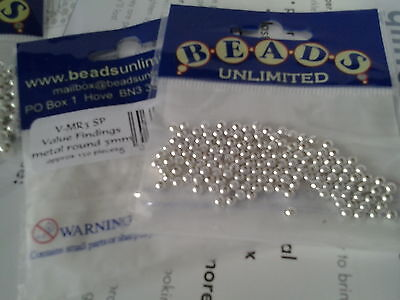 SILVER PLATED METAL BEADS, 3mm . 2 packs.