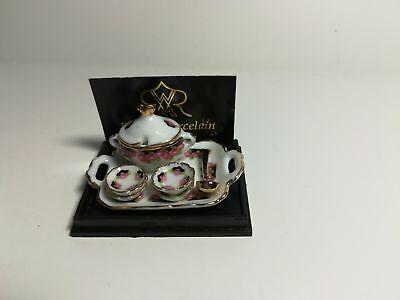 Tureen Set (Dollhouse Miniature Reutter Porcelain Black Rose Serving Set Tray Soup Tureen)