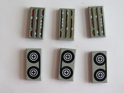 6 Lego Parts 3069 Flat Plate Gray Tape Reels & Computer Patterns LEGO Lot #4213