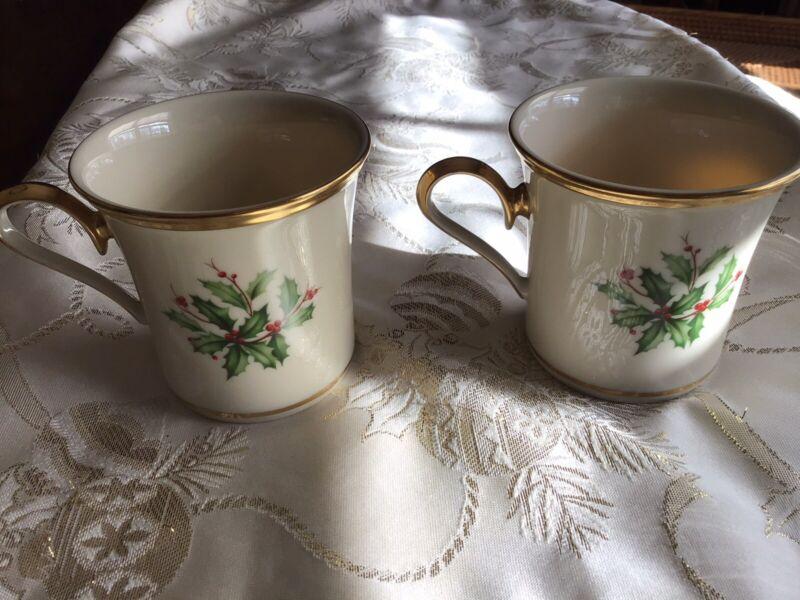 """Two Lenox Holiday Coffee Mug Pair Gold Rim 3 1/2"""" H"""