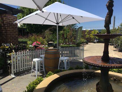 Wine barrel hire Melbourne / Tolix stool hire / Umbrella  Hire
