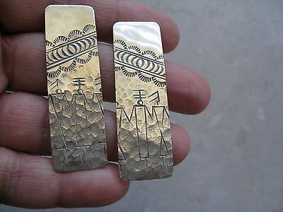 "Vintage Sterling Silver ""MODERNIST"" Long Post Earrings 2"" (NO BACKS)"