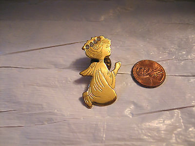 VINTAGE CHRISTMAS GOLD TONE ANGEL PRAYING WITH RHINESTONE HALO PIN