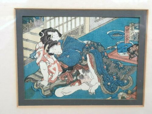 Antique Japanese Shunga Erotic Woodblock Print Enshoku Hakkenden Edo Period
