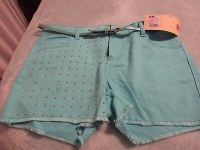 Cherokee Cotton Belt (CHEROKEE, JUNIOR'S NEW Turquoise Cotton Bl Adj Waist Shorts W/Belt, Size XL)