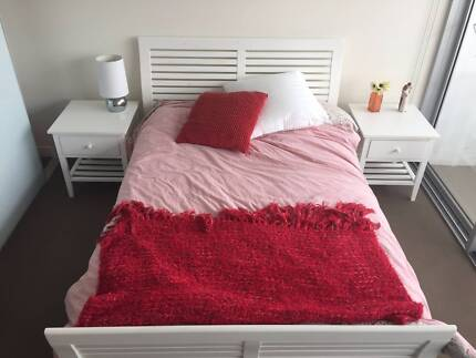 White double bed suite (2 side tables, frame and mattress) Paddington Brisbane North West Preview