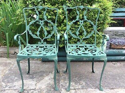 Pair of Ornate Green Vintage Cast Metal Bistro Garden Chairs Sturdy