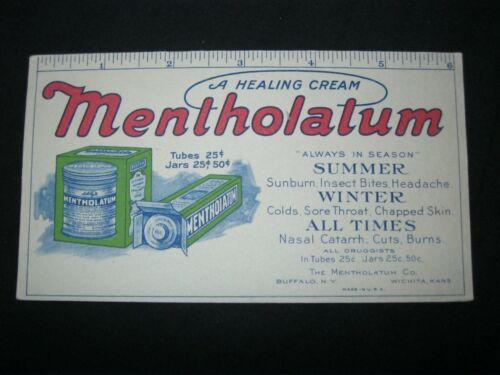 Victorian Trade Card Ink BLOTTER Mentholatum Six Inch Ruler GREAT  55