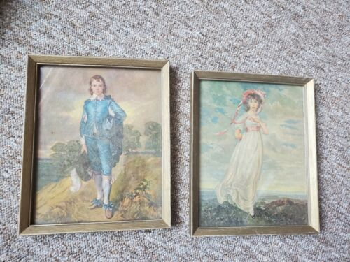 Vintage Pinky Pinkie And Blue Boy Decorative Prints. Pictures Framed Nice  - $9.99