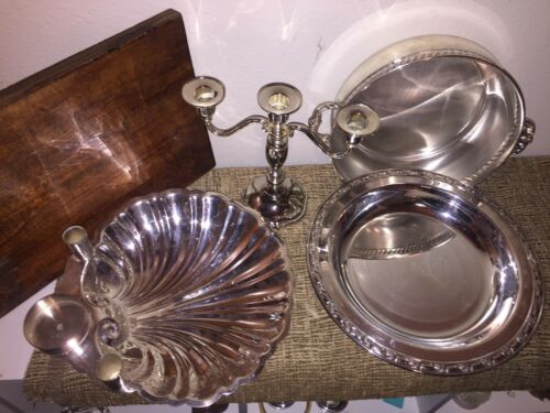 Mixed Antique & Vintage Lot Silverplate Bowl/Tray Casserole Holder/ Candelabra