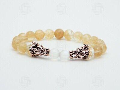 Double Dragon Citrine Moonstone Bracelet Chinese Wealth Success Women  Gift - Citrine Dragon