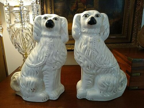 STUNNING ANTIQUE LARGE MATCHING PAIR STAFFORDSHIRE SPANIEL DOG STATUES 15""
