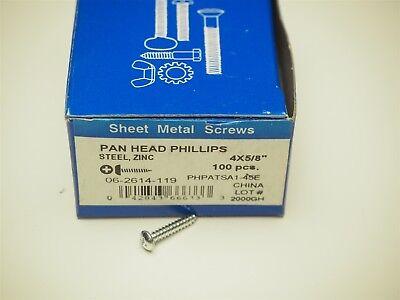 "NEW (Box of 100) PHILLIPS HEAD PAN HEAD SHEET METAL SCREWS #4 X 5/8"" ZINC"