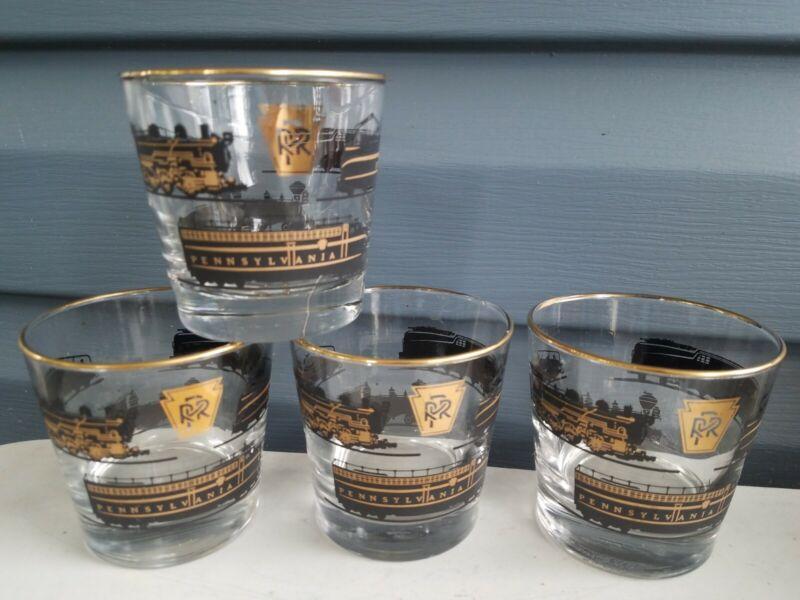 4 Vintage Libbey Pennsylvania Railroad Black Gold Drinking Glasses