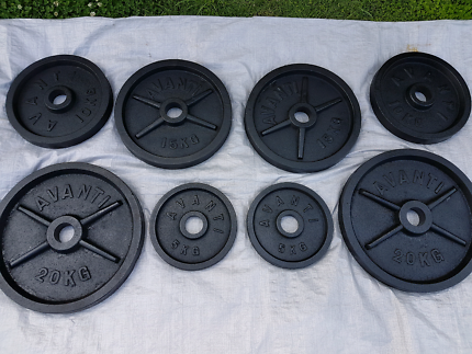 Olympic weights 100kgs steel plates As New