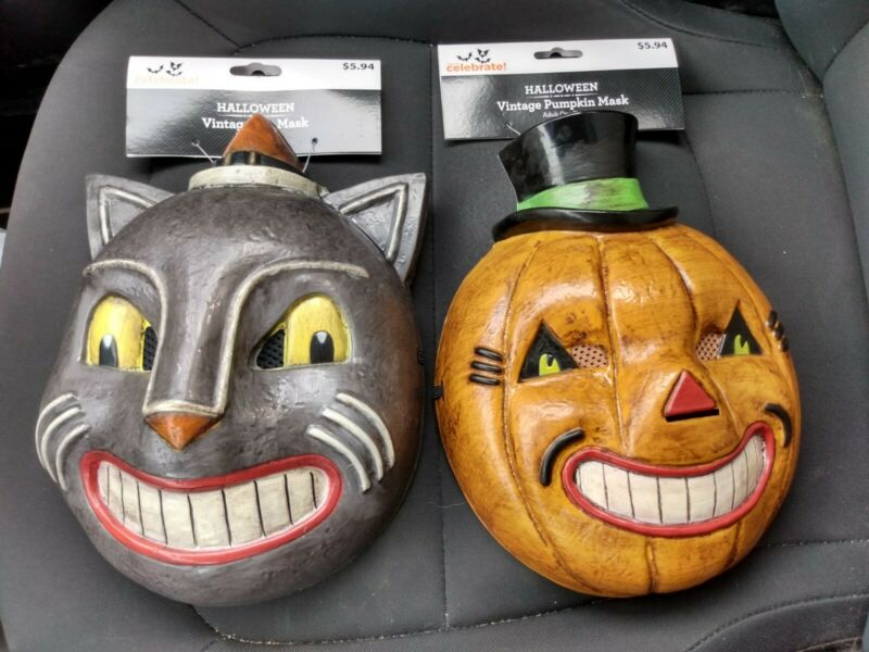 Vintage Inspired Halloween Cat & Pumpkin Mask Set 2021 With Tags