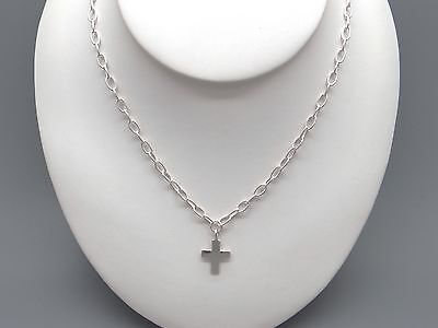 """Handmade Sterling Silver Religious Cross Oval Link Chain Necklace 17.5"""""""