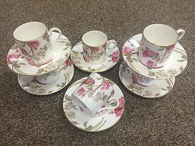 Aynsley Elizabeth Rose Pink Coffee Cups And Saucers