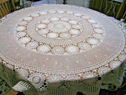 Gorgeous Antique Round Crochet Lace Tablecloth-No Stains-No Damage