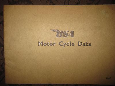Original BSA Motor Cycle Data book dated 1967