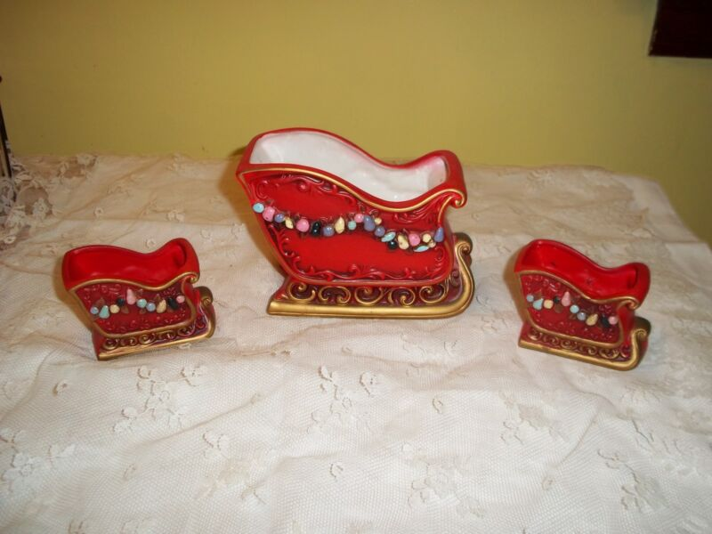 Vintage Napco Ceramic Christmas Centerpiece Sleigh and Candle Holders