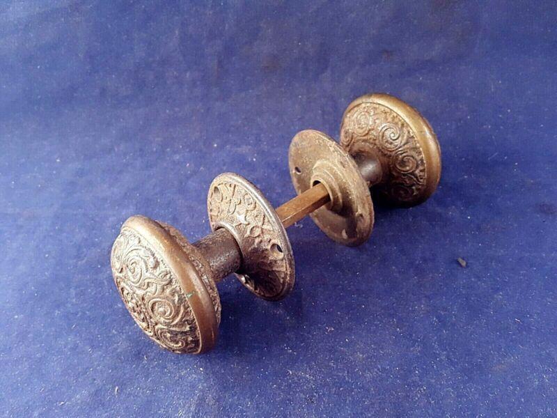 Pair Ornate Brass / Bronze Doorknobs w/ Matching Rosettes