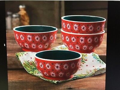 The Pioneer Woman Holiday Daisy 6-Inch Bowl, Set of 4 Red 6inch Pioneer