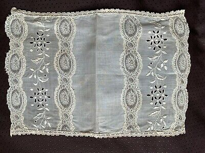Antique French Doily -Hand embroidery, Bobbin lace insertion 40cm by 30cm