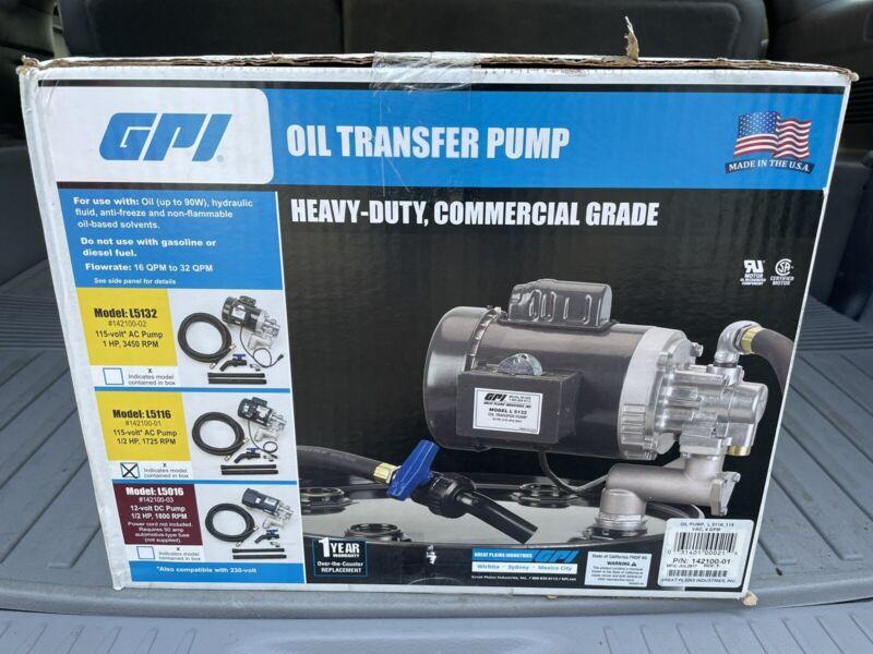 NEW!! - GPI Oil Transfer Pump Model L5116 Heavy Duty Commercial Grade 1/2 HP