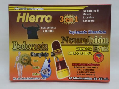Ampolletas BEDOYECTA NEUROBION HIERRO 10 Botellas 15ml C/U 3 en 1              M