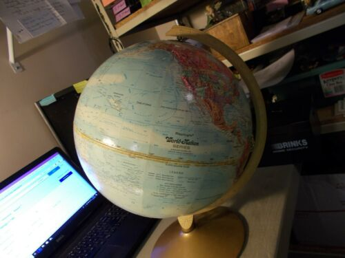 "VINTAGE REPLOGLE WORLD NATIONS SERIES GLOBE 12"" DIAMETER RAISED TERRAIN"
