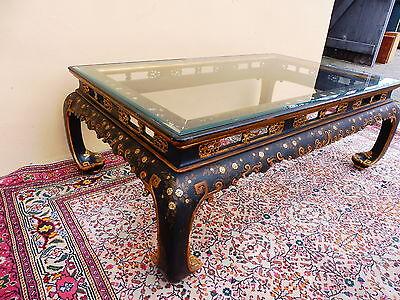 Schöner,antiker Tisch__Holz: geschnitzt bemalt u. teilvergoldet_Galsplatte_123cm