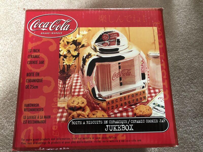 Coca Cola Brand Cookie Jar, Silver Juke Box By Gibson Vintage 2000