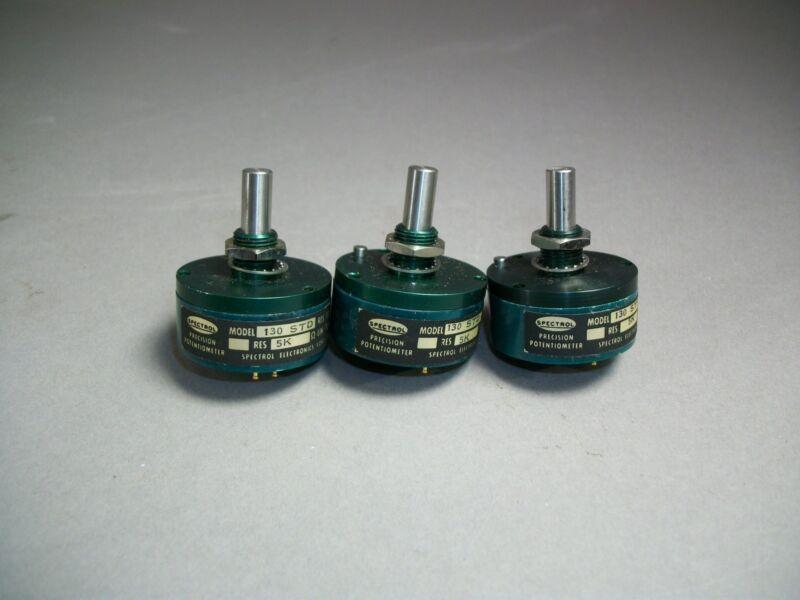 Lot of 3 Spectrol Precision Potentiometer Model 130 5KΩ Linear